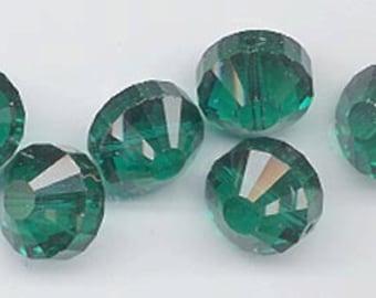 6 vintage Swarovski crystal beads -- rare style art. 5101 - 12 mm - emerald