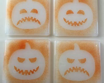 Pumpkin coasters fused glass