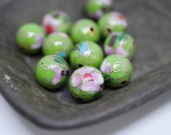 Chinese Cloisonne Beads 10mm Green Cloisonne Bead Enamel Beads Metal Beads (4 beads) CL15