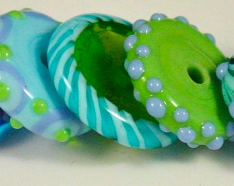 Lampwork Glass Rondell Beads - 5 Beads - Artist Patti Cahill