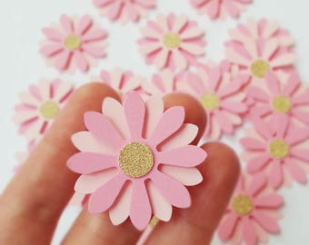 Pink and gold paper daisy flowers table decorations - Baby Shower - Princess Party - Fairy Tale Birthday - Set of 20