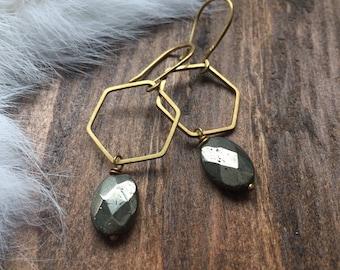 Pyrite Brass Hexagon Earrings