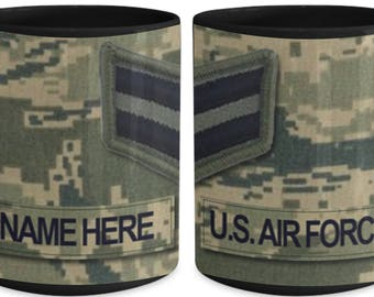 Personalized US Air Force Coffee Mug - US Air Force (USAF) Airman 1st Class (A1C) - E3, Customized Name/Text, 15 oz Cup, us air force gift