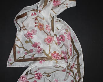 Hand painted silk scarf, Cherry blossom long scarf, Gift for mother, Sakura, Spring gift