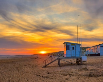 Camber Sands Sunset, Wall art, fine art photography, photographic print, Beach art, Lifeguard Station, Sunset art.
