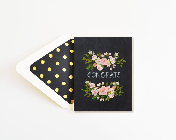 Congrats Charcoal and Blush Card