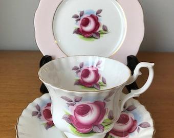 "Royal Albert Vintage Tea Cup Trio Un Named Teacup and Saucer ""Painter's Rose"" Plate, Pink Rose Bone China"