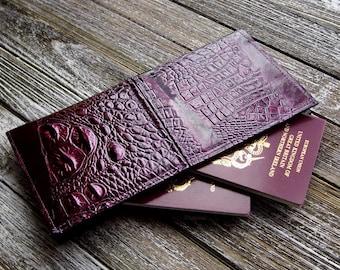 Purple Travel Wallet Document Wallet Vegan Leather Travel Wallet Vegan Wallet Faux Leather Wallet Passport Holder Gift Idea