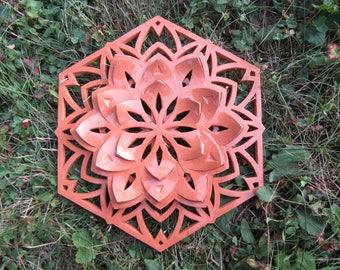 Terracotta flower mandala, natural color with transparent glaze