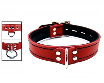 Red Latigo Collar with Black Lining and Locking Buckle - Your Choice of Front and Stitching