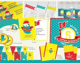 Pirate Birthday, Pirate Party Pack, Printable Invitation