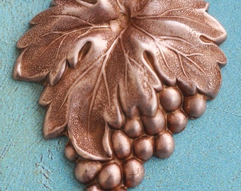 TWO Grape brass stampings, jewelry making, scrapbooking, Rose Ox, Jewelry supplies and Craft supplies made in the usa