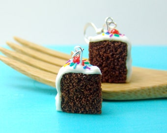 Cake Earrings // Chocolate Cake Jewelry with Rainbow Sprinkles // MADE TO ORDER