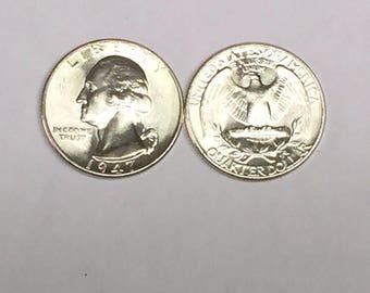 Lot(1 Coin) 1947 P GEM BU Washington Silver Quarter From Original Bank Wrapped (OBW) Roll Sharp Strike #!5