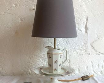 Vintage porcelain compote, cups, milk jug teapot lamp...