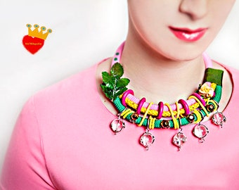 Garden- statement necklace,rope necklace,colorful,summer necklace,pink,chunky necklace,fashion necklace,unique necklace,colorful necklace,