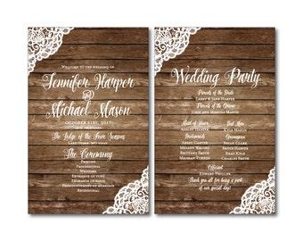 Rustic Wedding Programs, Lace Wedding Program, Country Chic, Fall Programs, Wedding Programs, Ceremony Programs, Order of Service #CL150