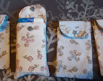 All cotton floral handkerchiefs case