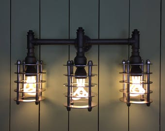 Leiston : A Triple Art Deco / SteamPunk Wall Light with Steel Shade Rings