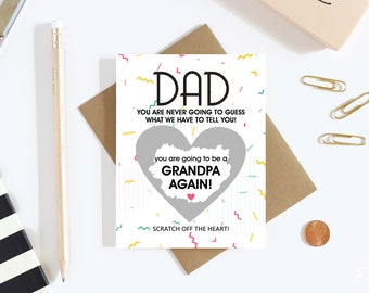 1 Scratch Off Card Pregnancy Reveal to Parents - Pregnancy Announcement - New Grandparents - grandparents to be - Grandpa - Grandfather