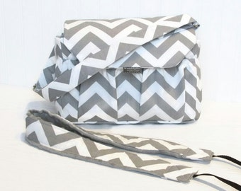 Personalized Chevron Padded Compact Camera Bag Gray or Mint with Camera Strap Digital Canon Rebel T3i EOS 55mm