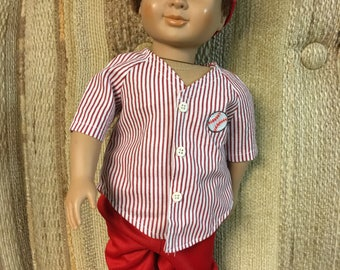 """18"""" doll outfit (like Am Girl/Boy) red baseball outfit"""