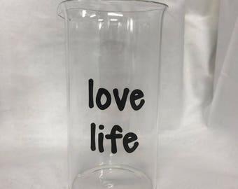 """Glass Beaker """"love life"""""""