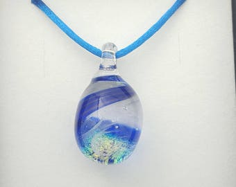 Royal blue sparkling pendant, bright blue, unique gift, cheerful jewellery, glass art, mothers day gift, mystic gift, wearable art,