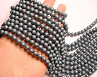 Pearl - 8 mm round - Satin matte  Pearl  - Ocean Grey - 1 full strand - 50 beads - SPT27 - Shell pearl