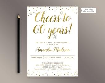 60th birthday invitations etsy cheers to 60 years birthday party invitation gold confetti 60th birthday invites adult birthday stopboris Image collections