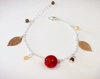 Leaves and red glass pearl bracelet gold
