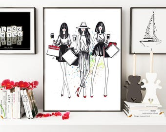 Fashion girls, Fashion illustration, Fashion girl art, Shopping, Black and White art, Fashion print, Fashion watercolor, Hermes bag
