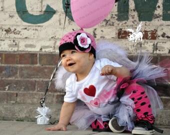"Crocheted Beanie Hat The ""Kinsley Arin"" Pink, Black, White Costume Halloween Animal Theme Ladybug Button"