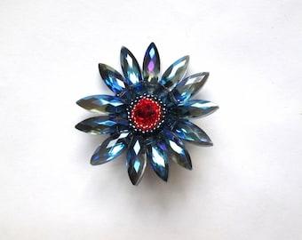 BlueSparkly Flower Brooch  PIN11