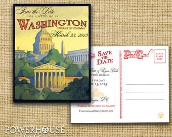 Vintage Washington DC Postcard Save the Date