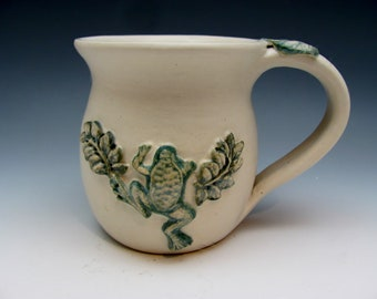 Mug with Frog Leaves Nature Lover Gardener Botanical Coffee Tea Soup Mothers Day Stoneware