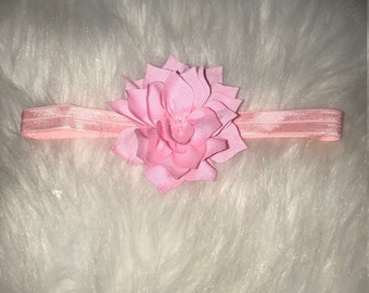 Baby/Toddler Headband with Large Pink Flower on a Pink Elastic Stretch Band