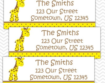 Baby Giraffe Yellow - Personalized Address labels, Stickers, Baby Shower