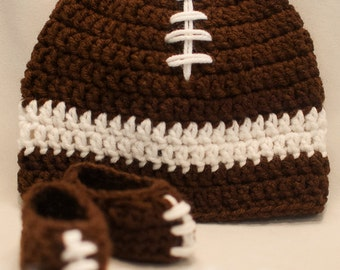 Crochet Football Newborn Set, Crochet Football Newborn Beanie, Crochet Football Newborn Booties, Baby Football Booties, Football Beanie