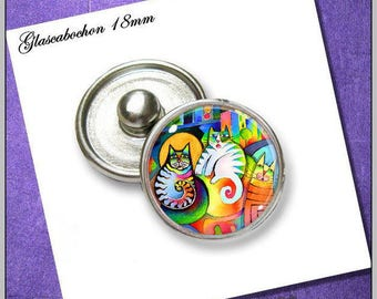 Push button with edge cats abstract SHK-018-045