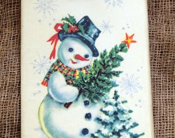 Retro Snowman With Pine Tree Christmas Gift or Scrapbook Tags or Magnet #292