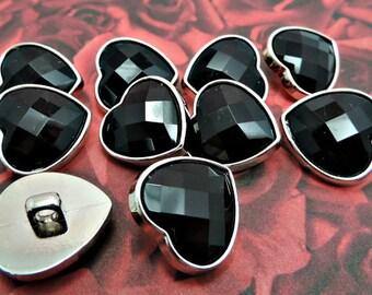 BLACK Rhinestone Heart Buttons Valentine's Day Rhinestone Buttons Coat Buttons Fashion Garment Buttons 19mm 3177 1R