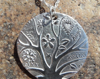 Fine Silver Larger Tree of Life Pendant and Sterling Silver Rope Chain