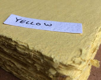Yellow paper, handmade paper, eco friendly paper, recycled paper, textured paper, homemade paper, decorative paper, bright yellow, canary