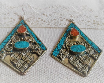 Earrings ethnic vintage Nepal the Tibet