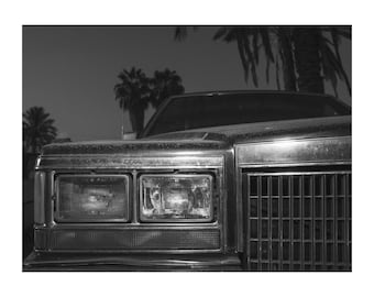 vintage car, american car, palm trees, black and white photography,