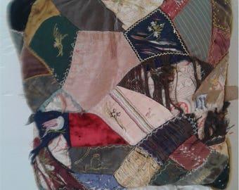 Vtg 30s - 50s Crazy Quilt Pillow
