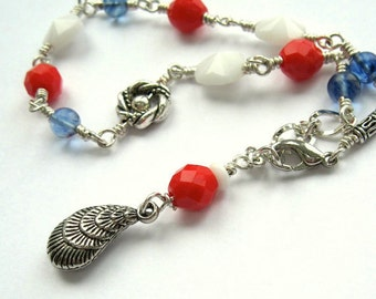 All American Anklet, July 4th Jewelry, Red White & Blue Flag Colors, Colorful Patriotic Holiday, Summer Beach Gift for Her, Made in USA A10