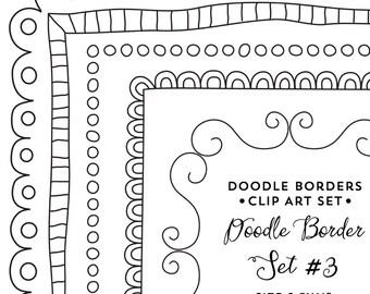 "Doodle Border Clipart, 8.5x11"", Frame Clip Art Instant Digital Download"