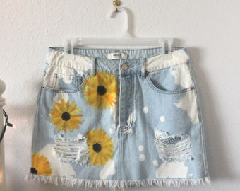 Denim sunflower skirt